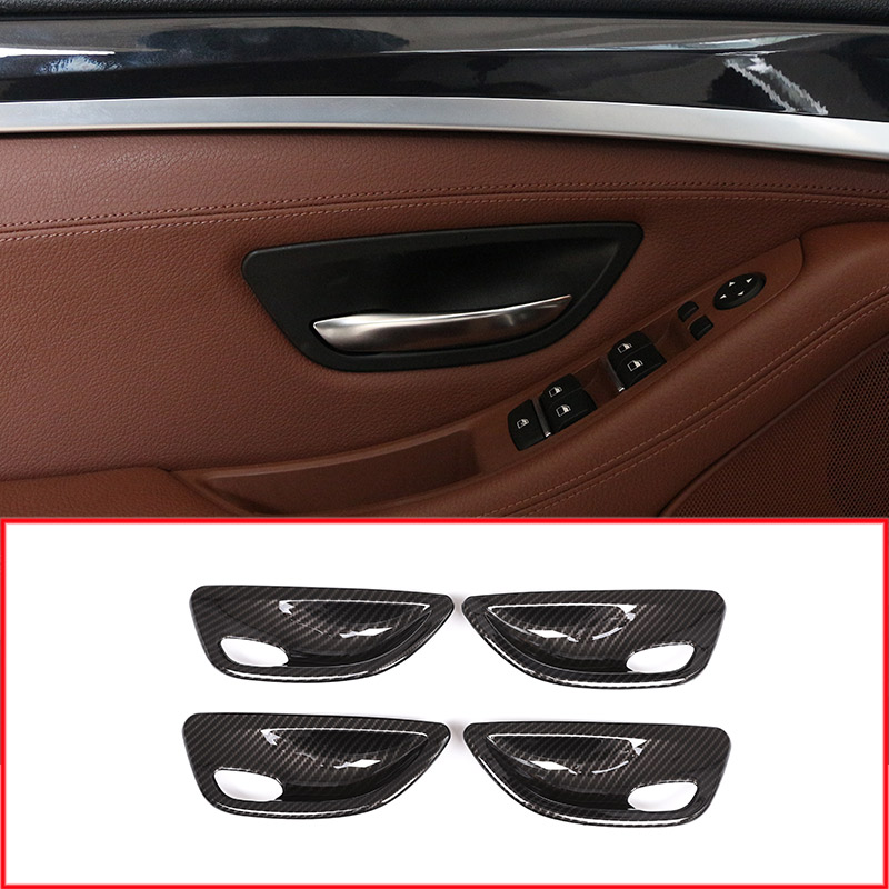4pcs Carbon fiber Style ABS Interior Door Bowl Cover Trim For BMW 5 Series F10 520 525 2011-2017 Year model new carbon fiber for bmw 5 series f10 2011 2017 520li 525li 530li abs center console gear shift panel cover trim car accessories