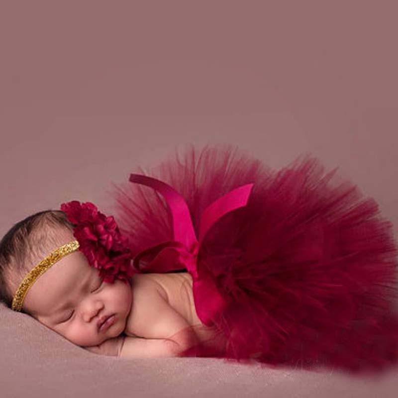 Cranberry / Wine Tutu Sukně Novorozenec Tutu a čelenka Baby Tutu Fotografie Prop Plně Fluffy Tutus 16 Designs TS032