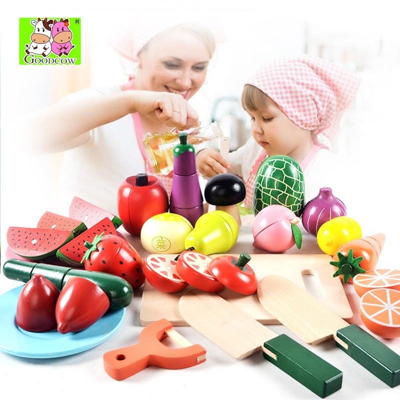 Free Shipping!Baby Toys Play Food Wooden fruit vegetable set cut Toys Play Pretend Toys Gift 1 barrel free shipping baby toys picnic basket food set wooden play food set pretend play kitchen toys gift