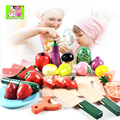 Free Shipping!Baby Toys Play Food Wooden fruit vegetable set cut Toys Play Pretend Toys Gift 1 barrel
