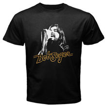 цена на Bob Seger and The Silver Bullet Band Early Years Men's Black T-Shirt Size S-2XL Printed T Shirt Boys Top Tee Shirt Cotton