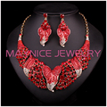 Novo Design de Cristal de Noiva Conjunto de Jóias Chapeamento de Ouro Declaração Colar Brinco Set Mulheres Decoração Do Casamento Para Noivas L00943