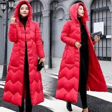 Elástico capa encapuchada del Invierno abajo Chaqueta larga caliente mujeres Casaco Feminino Abrigos Mujer Invierno 2018 Parkas Outwear de algodón acolchado