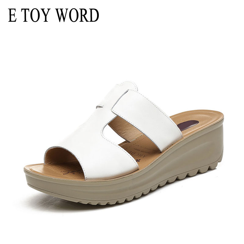 E TOY WORD flip flop Summer New Korean Fashion Leather Wedges Platform Slippers Thick crust Muffins wear Womens shoes