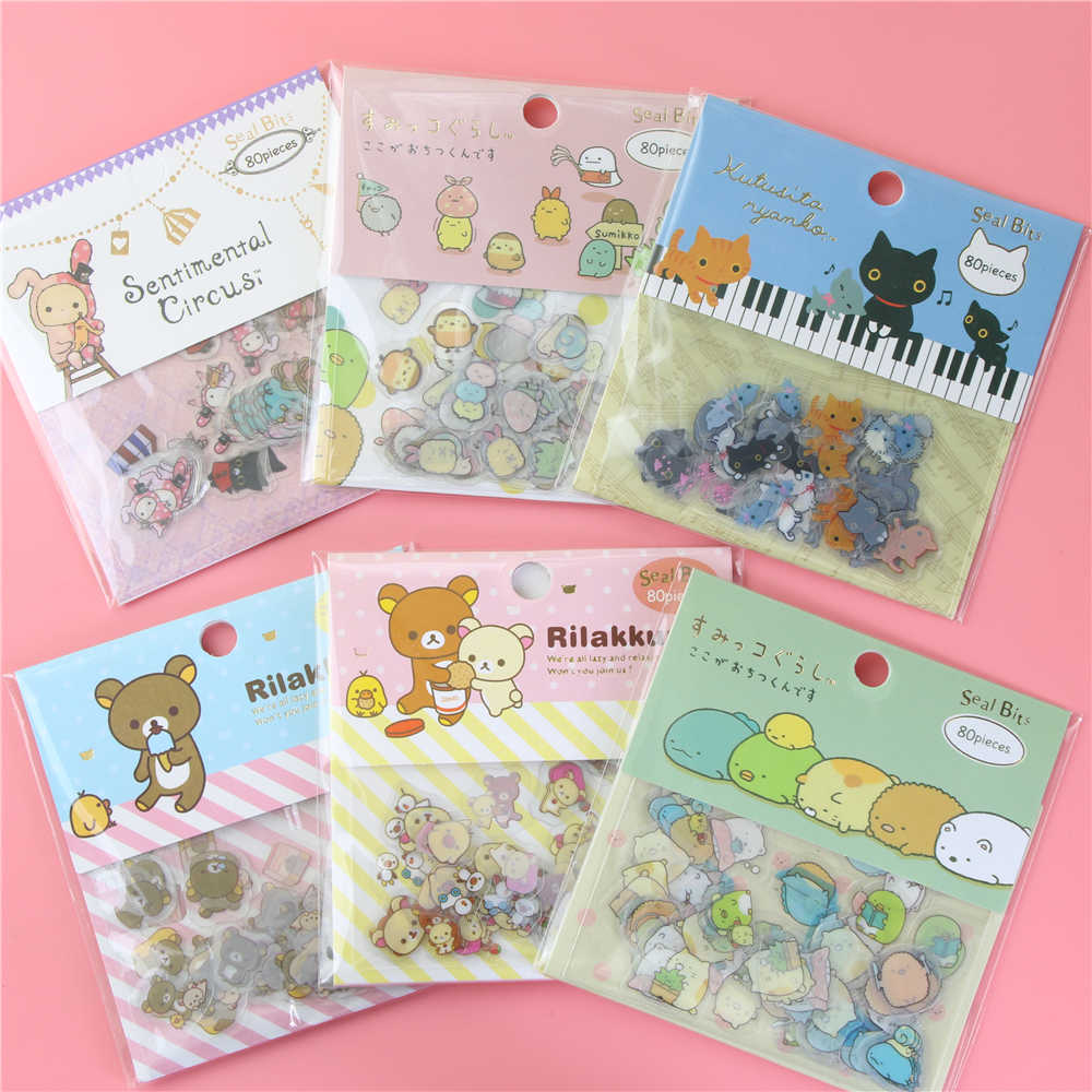 80Pcs/Bag Easily Bear Sticker Package Diy Stickers Children Stationery Stickers