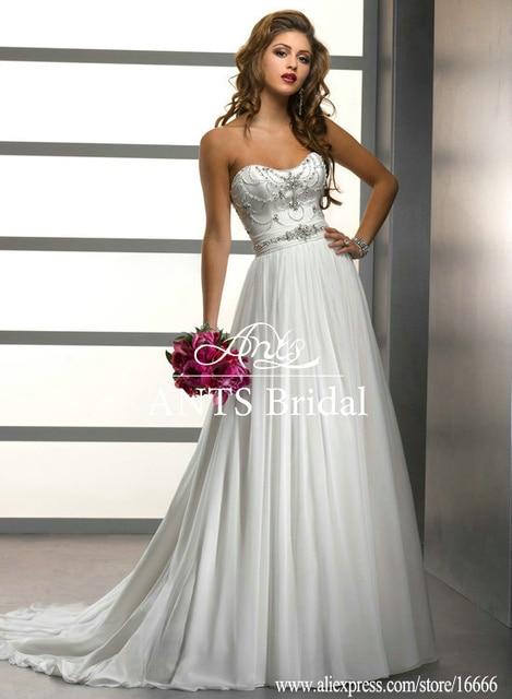 Comfortable A Line Sleeveless Rhinestone Corset Beaded Belt Crystal Embellishments Wedding Dress WD1575