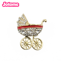 50/100pcs/lot free shipping Gold tone cute rhinestone Baby carriage brooch pin for party/gift dress decoration