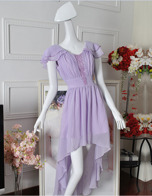 High Low Lilac Cocktail Dress Cap Sleeves Chiffon Long Back Short Front Formal Party Dress Custom Size