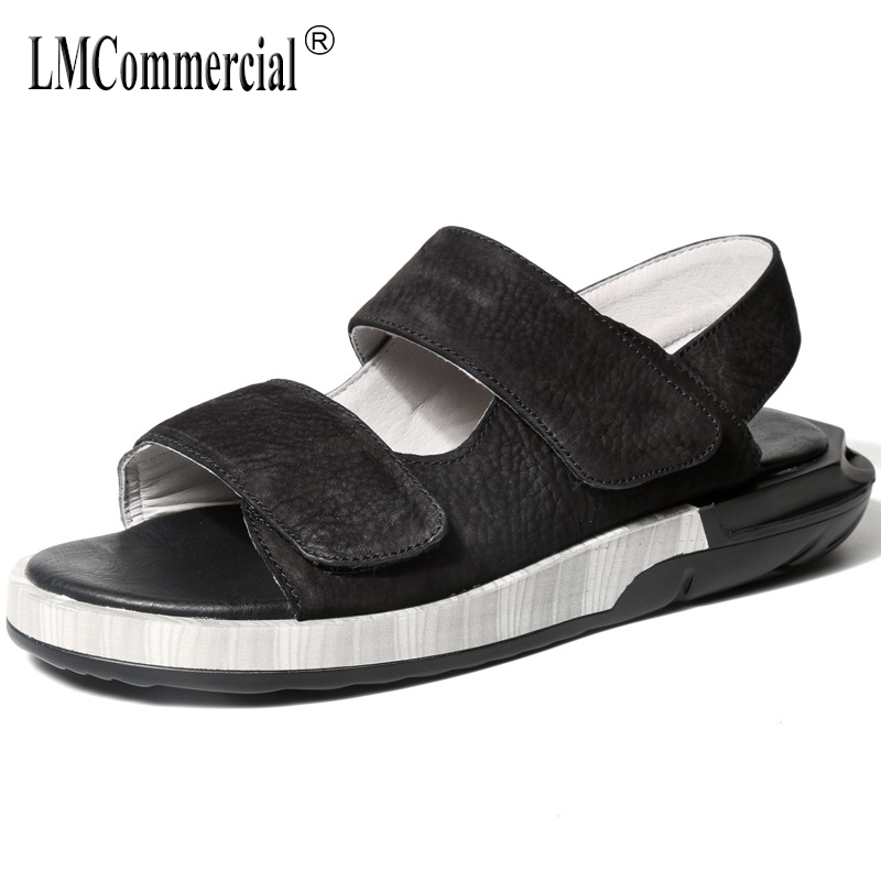 Mens summer Genuine leather Rome sandals British all-match cowhide Sneakers Men Slippers Flip Flops casual Shoes beach outdoor