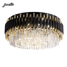 Jmmxiuz 현대 럭셔리 블랙 + 골드 샹들리에 조명 대형 라운드 크리스탈 램프 거실 침실 led 샹들리에