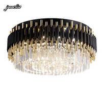 jmmxiuz Modern luxury black + gold chandelier lighting large round crystal lamps living room bedroom LED chandelier