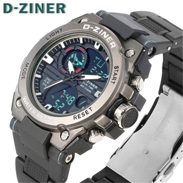 829e0eaf3a20 Mens Relojes de Primeras Marcas de Lujo D-ZINER Moda Casual Hombres del  Reloj Digital