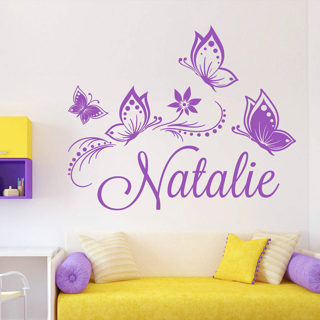 personalized custom butterflies butterfly flower name vinyl decal sticker wall decoration jumbo wall sticker for kids