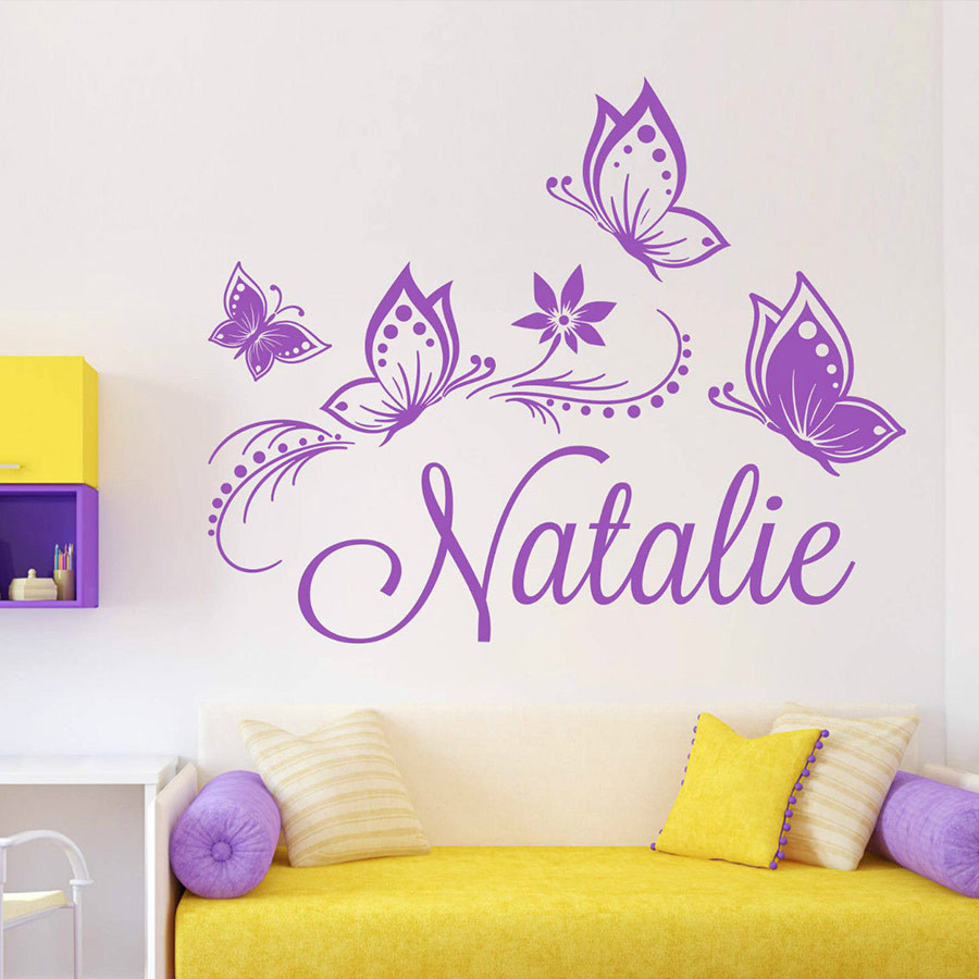 Personalized custom Name Butterflies wall sticker for kids ...