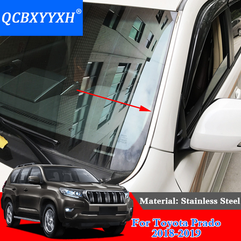 QCBXYYXH Car Styling Stainless Steel Front Windshield Decoration Sequins For Toyota Prado 2018 Dedicated Chrome Trim Cover