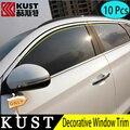 KUST 10 ШТ. Из Нержавеющей Стали Отделка Окна Стикер Для Tucson 2015 Украшения Окна Кадра Блесток Обложка Для Hyundai Tucson Для 2016