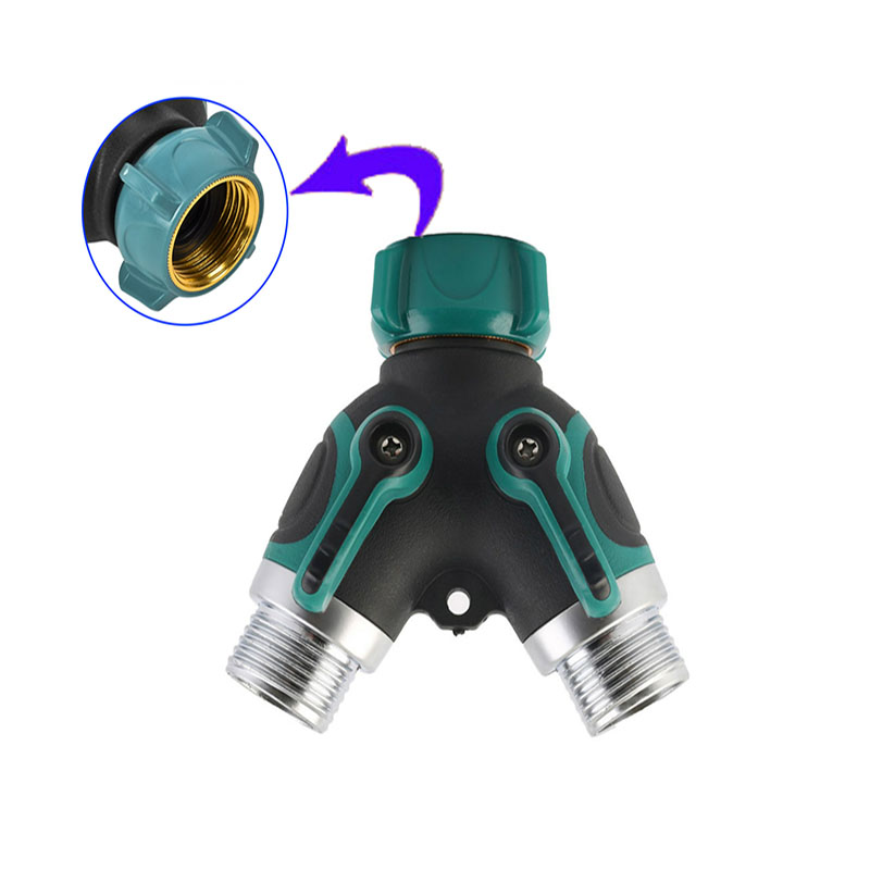 1 Pcs Y Connector Female Quick Connector Drip Irrigation System Adapter two way Valve Garden Irrigation G3 / 4'' Quick Coupling