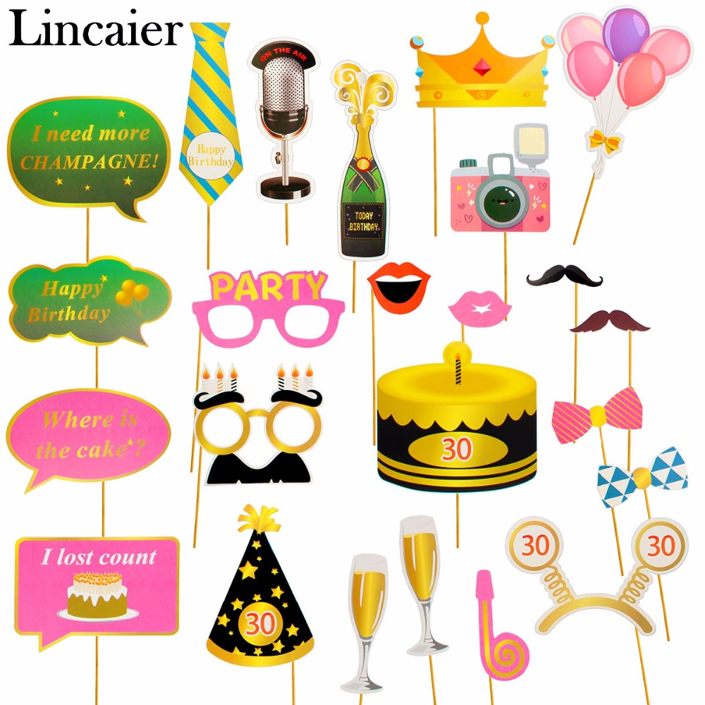 Lincaier 24pcs 30 40 50 60 70 Happy <font><b>Birthday</b></font> Photobooth Props 30th 40th <font><b>50th</b></font> 60th 70th Years Party Photo Booth <font><b>Decorations</b></font> Adult image