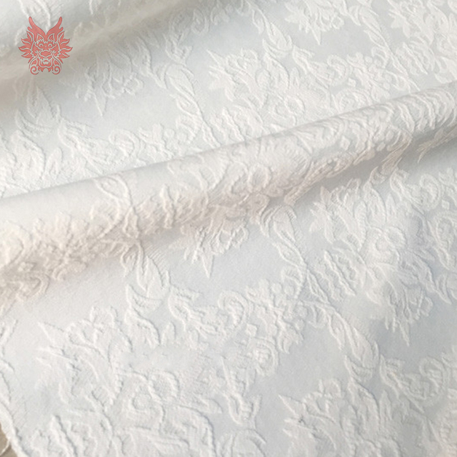 Pastoral style white embossed floral jacquard brocade