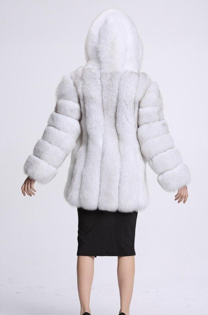 Plus Longues Mode Manteau Femmes Wp020 Chaud Outwear Capuchon Taille La À Veste Folobe Fourrure noir Blanc En Manches Fausse gris ardoisé Hiver 6qOFf
