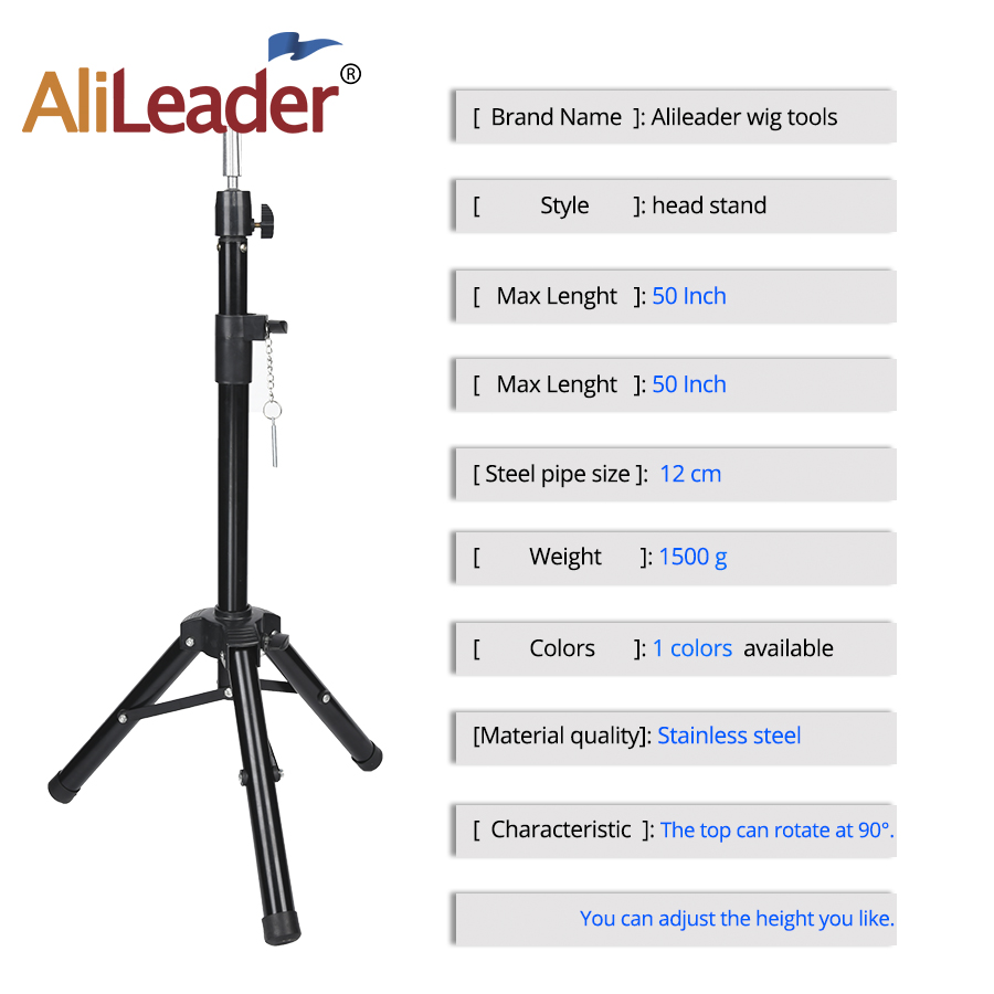 Black Tripod for Wigs Head Stand Adjustable Wig Stand for Mannequin Training Head Holder Hairdressing Clamp Tripod Stand Holder 2