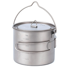 1100Ml Pure Titanium Pot Titanium Water Mug Cup With Lid And Foldable Handle Outdoor Camping Pot Cooking Pots Picnic Hang Pot цена