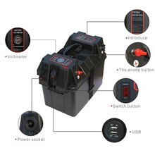 Multifunctional Battery Box with Voltmeter Guage USB Charger for Car Marine Boat RV Truck