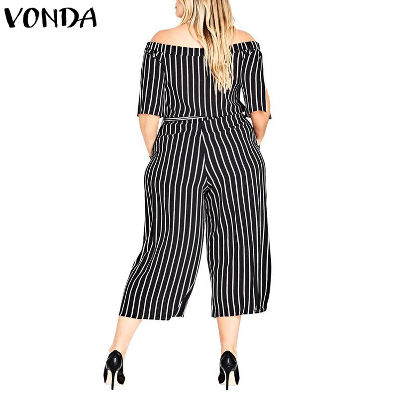 Striped Rompers Womens Jumpsuits 2018 Summer Women Casual Loose Pants Sexy Slash Neck Off Shoulder Playsuits Plus Size Overalls 1