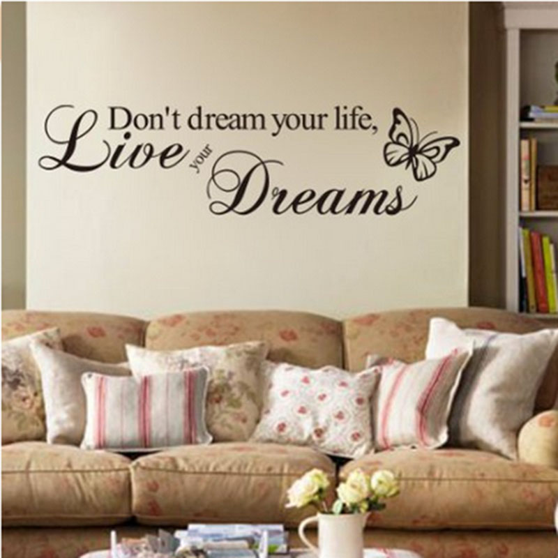 1pc Letter Wall Sticker Home Decor Don T Dream Your Life Live Your Dream Wall Quote Decal Vinyl Words Sticker Yl838495