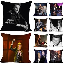 New Arrival Johnny Hallyday Pillow Cover Bedroom Home Office Decorative Pillowcase Square Zipper Pillow cases Satin