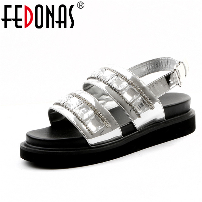 FEDONAS 2018 Genuine Leather Women Crystal Sandals Party Summer Wedges High Heel Shoes BlingBling Casual Peep Toe Date Shoes facndinll new women summer sandals 2018 ladies summer wedges high heel fashion casual leather sandals platform date party shoes