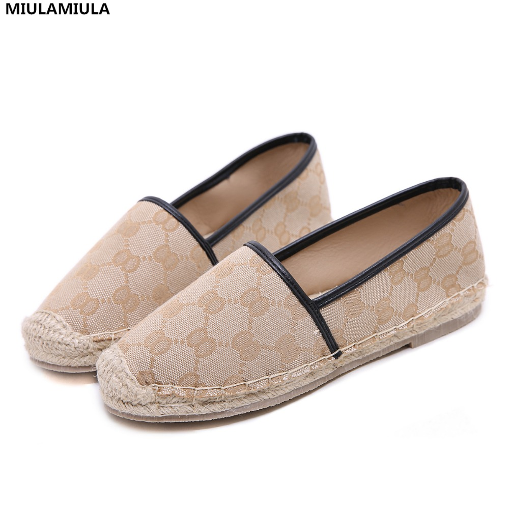 MIULAMIULA Brand Designer 2018 New Fashion Apricot Hemp Bottom Round Toe Woman Flats