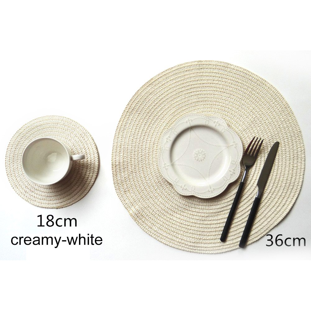 Round Placemat Table Mat Coaster Non Slip Cotton  Solid Placemat Mat Yarn Woven Table Insulation Pad Kitchen Tools Accessories