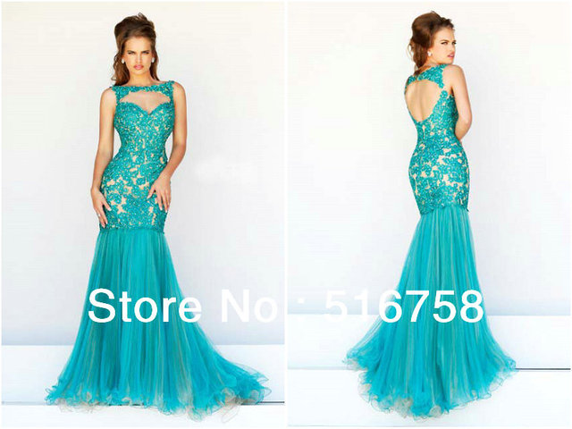 Open Chest Sheath Bodice Floor Length Turquoise Tulle Train Party ...
