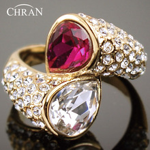 Chran Elegant Gold Color Love Heart Design Crystal Wedding Rings for Women