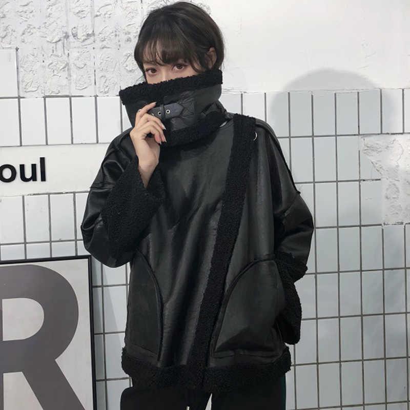 BONU Primavera Longo Cordeiro Fur Jacket Feminino Mulheres Harajuku Patchwork Solto BF Jaqueta PU Preto Grosso Casaco de Inverno Blusão Quente