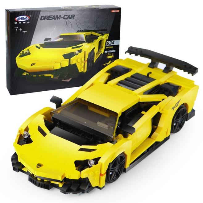 Creative MOC Technic Series Building Blocks The Yellow Flash Racing Car Set Educational Bricks Toys Model