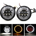 2 PCS 4.5 Inch LED Passing Light LED Fog Lamps with halo ring for Harley Davidson Motorcycles