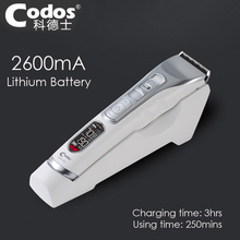 Codos Super Professional Rechargeable Hair Clipper 2600mA Lithium Battery Hair Trimmer Black Ceramic Cutter Cutting Machine