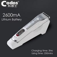 Codos Super Professional Rechargeable Hair Clipper 2600mA Lithium Battery Hair Trimmer Black Ceramic Cutter Cutting Machine