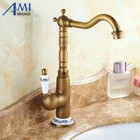 Brass Kitchen Faucets Bathroom Faucet Sink Basin Mixer Tap Antique Brass Golden 9903 9904 360 Swivel
