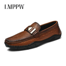 цена на Genuine Leather Men Loafers Slip on Fashion Men Dress Shoes Handmade Luxurious Flats Men's Classic Loafers Banquet Prom Shoes