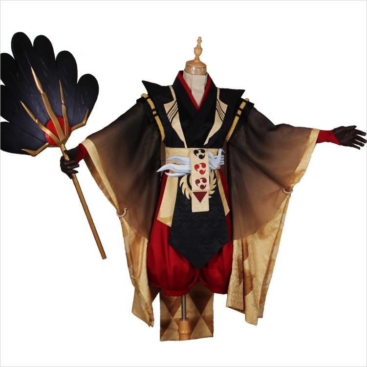 Onmyoji CostumeTaitengu Noir Or Plume Lame Combat Costume Kimono Uniforme Cosplay Costume Halloween Outfit