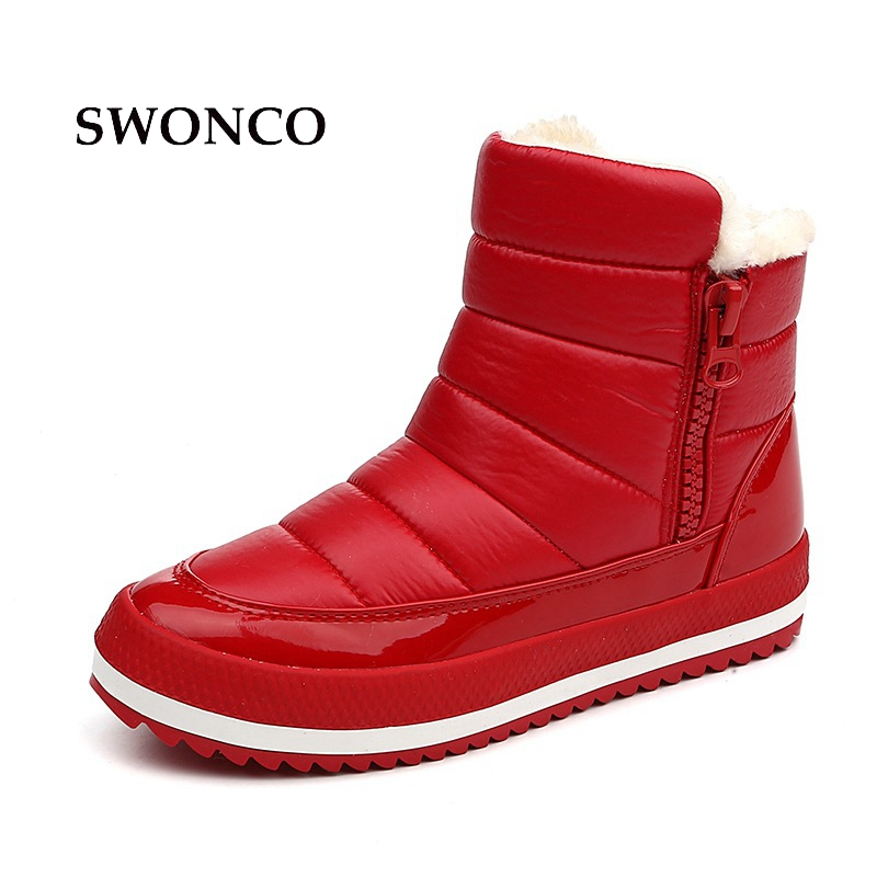 SWONCO Women's Boots PU Leather Warm Short Plush Snow Boot Winter Shoes Ankle Boots For Women Rubber Sole Non-slip Woman Shoes france tigergrip waterproof work safety shoes woman and man soft sole rubber kitchen sea food shop non slip chef shoes cover