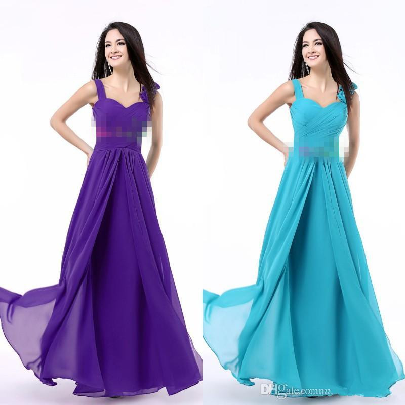 Purple Bridesmaids Dress Sweetheart Neckline with Straps Pleats ...