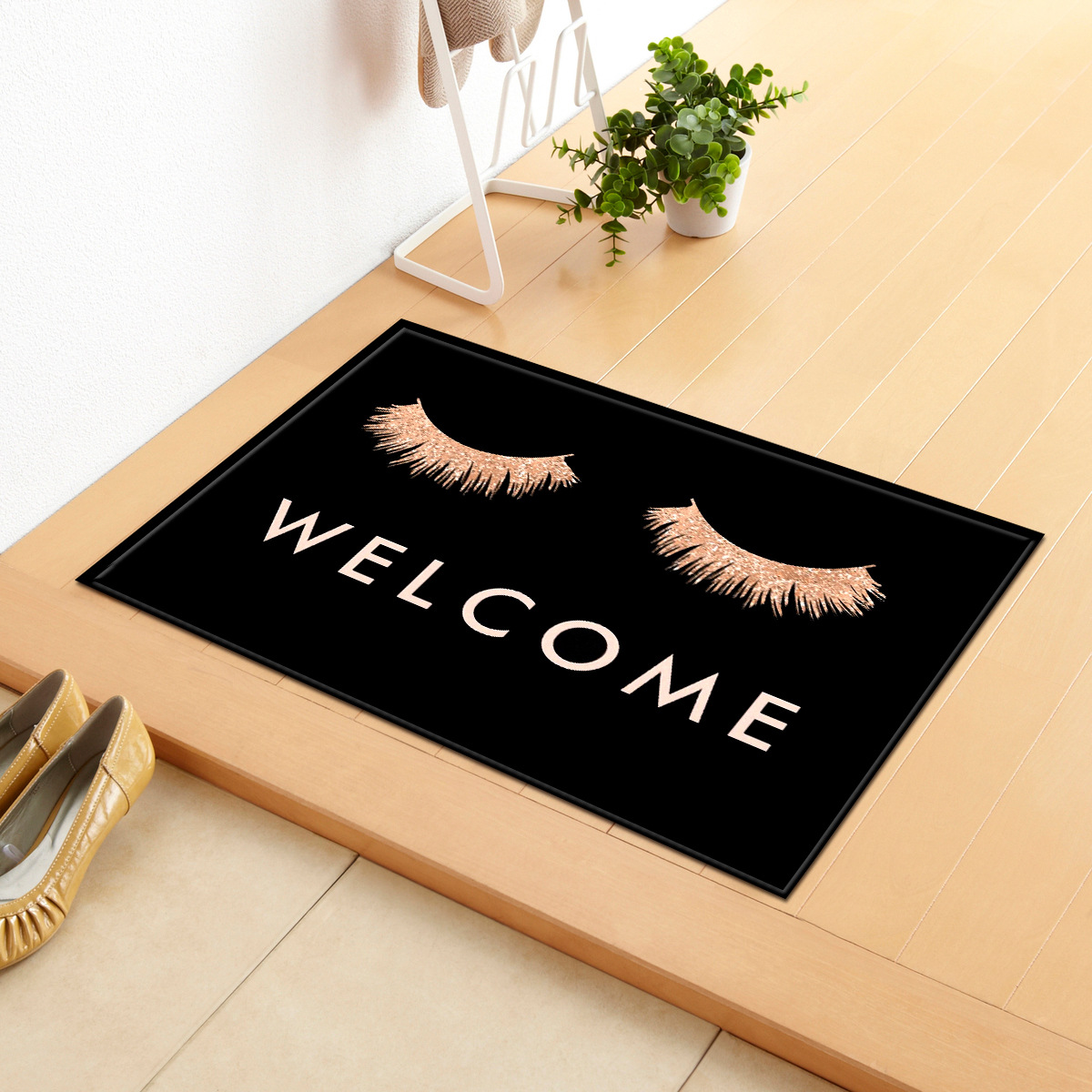 Welcome Black Bath Mat Bathroom Carpet Water Absorption Rug Shaggy Memory Foam 40*60cm India Kitchen Doormat Floor Blanket