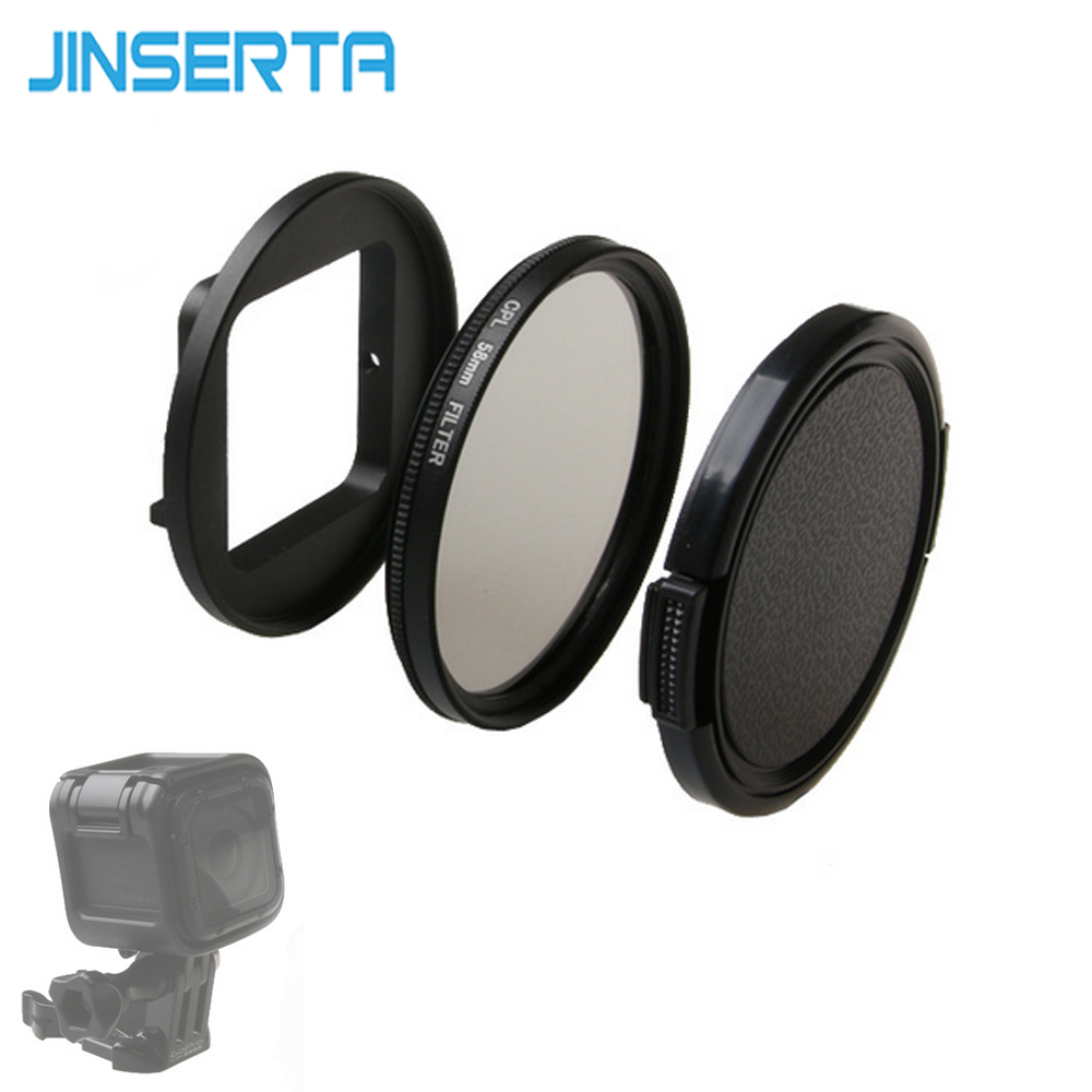 JINSERTA UV CPL Lens Filter 58mm + Adapter Ring + Lens Cap Lense Protector Filters for Go pro Hero 5 4 Session Accessories