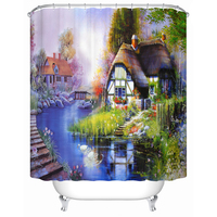 Vixm European Style Landscape on The Household Toiletries Bath Shower Curtain Fabric Waterproof Shower Curtains