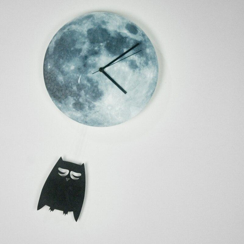 Funlifetm Owl Swinging On The Glowing Moon Wall Clockpendulum