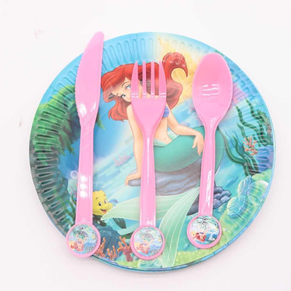 Mermaid Theme Party น่ารักตกแต่งเด็กทารกถ้วยจานผ้าเช็ดปากทิ้ง Tablewa ชุดคริสต์มาสสำหรับอุปกรณ์งานเลี้ยงวันเกิด